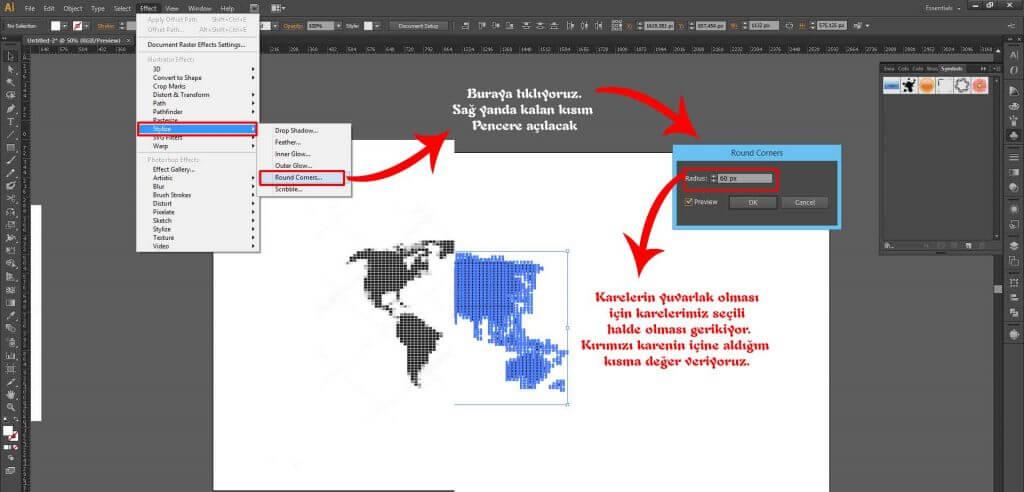 İllusrator'de Dünya Haritasını Noktalı Şekil Haline Getirmek