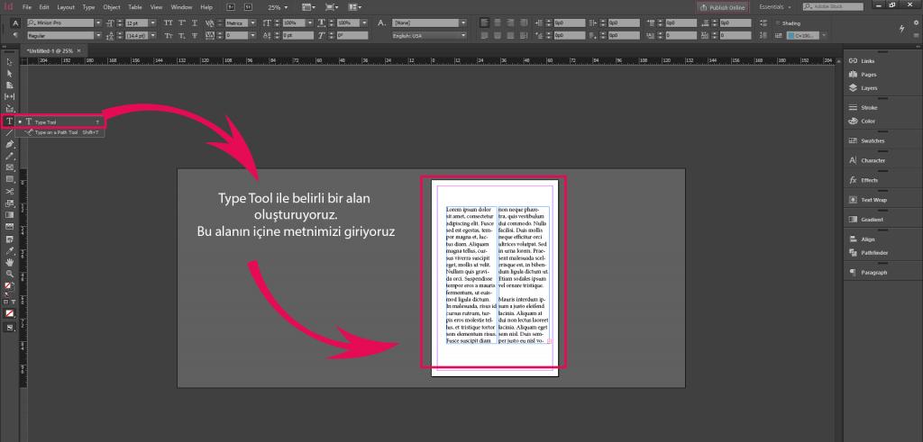 Indesign Metin Vurgu Rengi Yapmak (underline)