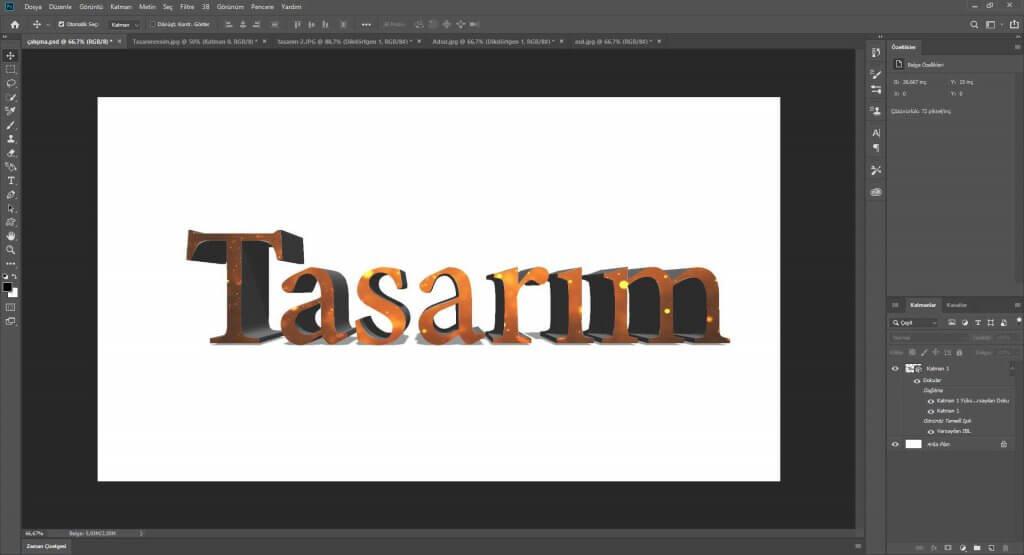 Photoshop 3 Boyulu Yazı Efekti